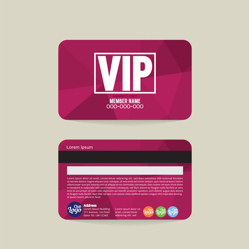 Vip member card template vector 09
