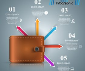 Wallet and infographic vector