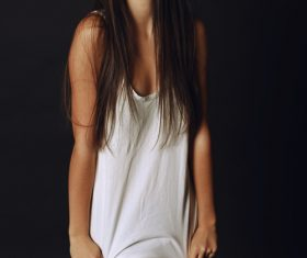 Wearing a white T-shirt girl Stock Photo 02