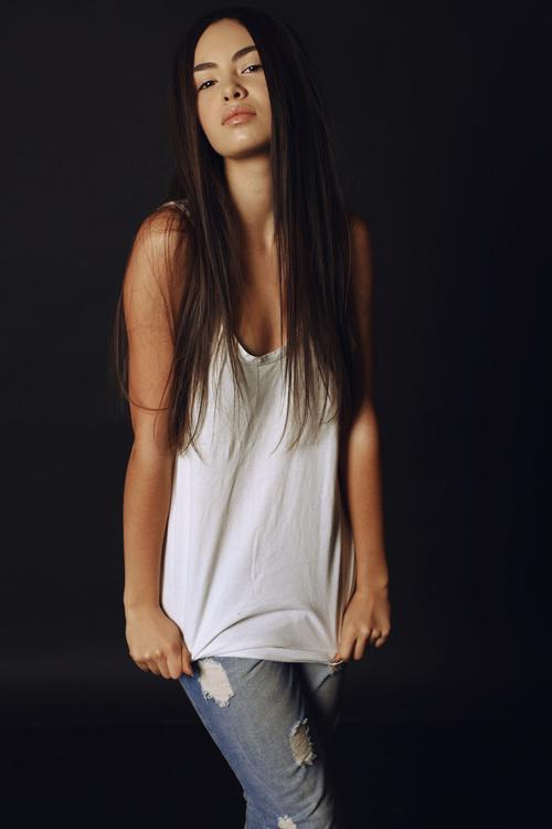 Wearing a white T shirt girl Stock Photo 02