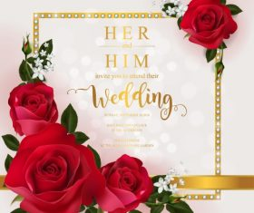 Wedding cards invitation with beautiful roses in vector 01