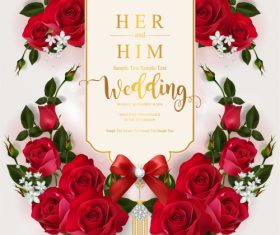 Wedding cards invitation with beautiful roses in vector 02