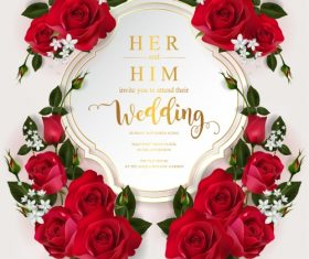 Wedding cards invitation with beautiful roses in vector 04