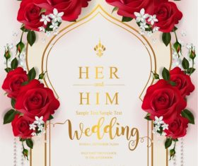 Wedding cards invitation with beautiful roses in vector 06