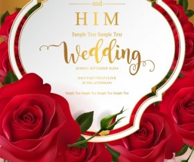 Wedding cards invitation with beautiful roses in vector 09