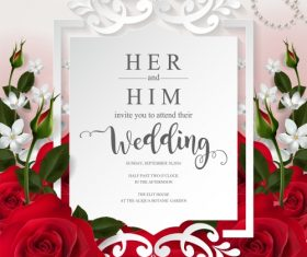 Wedding cards invitation with beautiful roses in vector 10