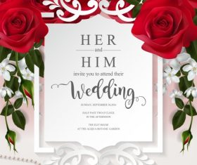 Wedding cards invitation with beautiful roses in vector 11