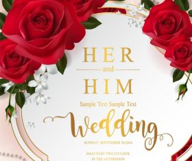 Wedding cards invitation with beautiful roses in vector 12