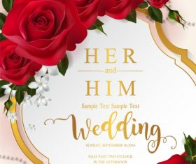 Wedding cards invitation with beautiful roses in vector 13