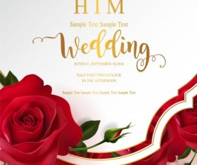 Wedding cards invitation with beautiful roses in vector 14