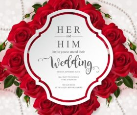 Wedding cards invitation with beautiful roses in vector 16