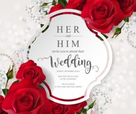 Wedding cards invitation with beautiful roses in vector 17