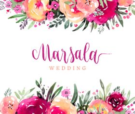 Wedding invitation card with watercolor flower vector 01