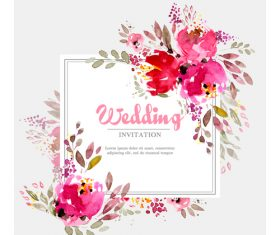 Wedding invitation card with watercolor flower vector 03