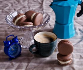 White Cream Macaroon and Coffee on the Desktop Stock Photo 02
