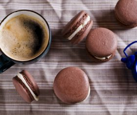 White Cream Macaroon and Coffee on the Desktop Stock Photo 04