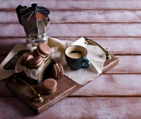 White Cream Macaroon and Coffee on the Desktop Stock Photo 05