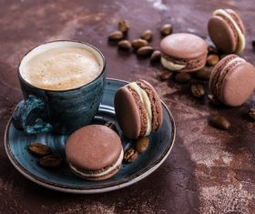 White Cream Macaroon and Coffee on the Desktop Stock Photo 07