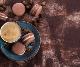 White Cream Macaroon and Coffee on the Desktop Stock Photo 08