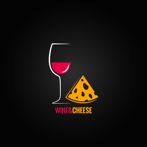 Wine with cheese logo design vector