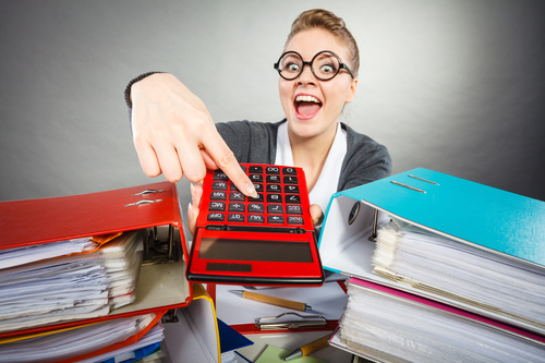 Woman holding calculator Stock Photo 01
