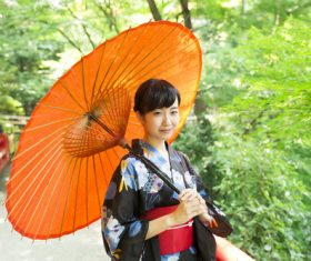 Woman wearing japanese national costume Stock Photo 01