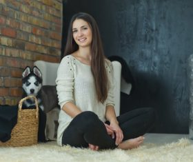 Woman with puppies husky Stock Photo 05