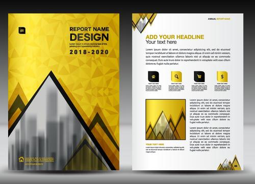 Yellow brochure with magazine cover template vector 01