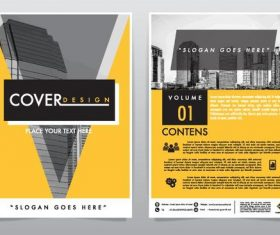 Yellow brochure with magazine cover template vector 02