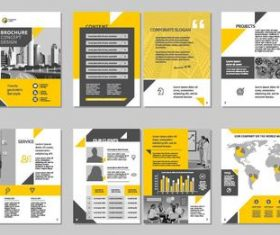 Yellow brochure with magazine cover template vector 03