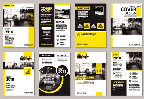 Yellow brochure with magazine cover template vector 04