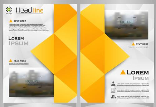 Yellow brochure with magazine cover template vector 05