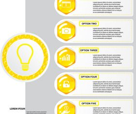 Yellow button with option banners vector 01