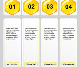 Yellow button with option banners vector 03