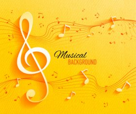 Yellow musical background design vector