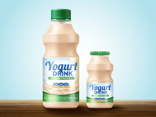 Yogurt drink package design vector 02