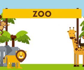 Zoo with cute animals cartoon vector 02