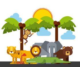 Zoo with cute animals cartoon vector 03