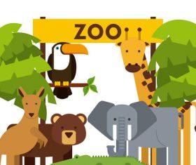 Zoo with cute animals cartoon vector 04