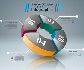 abstract 3d four object infographic template vector 01