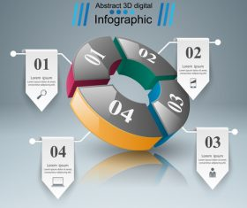 abstract 3d four object infographic template vector 02