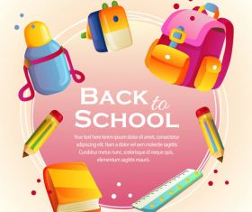 back to school card with school stationary vector