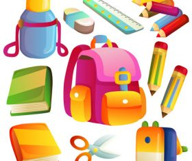 back to school element icon set vector