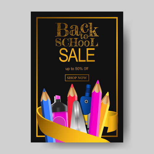 Back To School Flyer With Poster Template Vector 04 Free Download