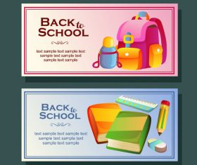 back to school horizontal banner with stationary vector