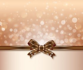 brown ribbon bows with blurs background vector