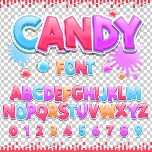 candy colorful alphaber vector