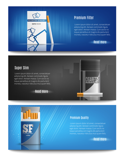 cigarettes boxes banners realistic 3d vector