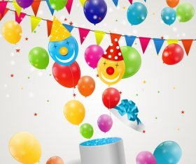 clown with birthday gift and colored balloons vector