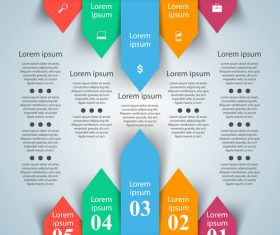 color arrows paper infographic vector